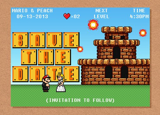 8-bit-video-game-mario-peach-save-the-date