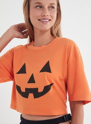 Pumpkin Cropped Oversized T-Shirt