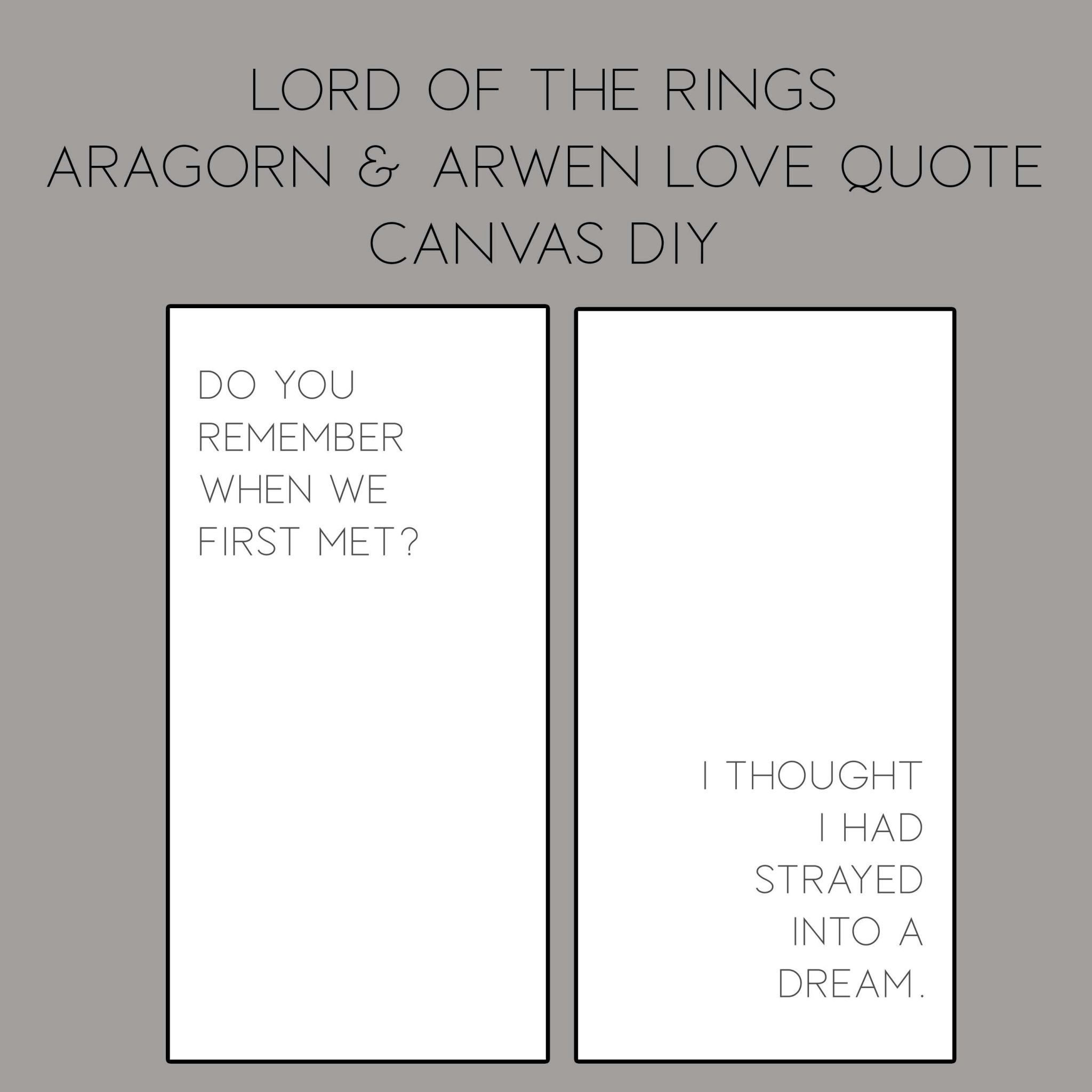 Lord Of The Rings Diy Arwen And Aragorn Canvas Quote Popcorner