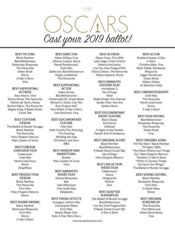 photo regarding Oscar Ballots Printable titled Oscar 2019 Ballot Printable - Vqfoundation