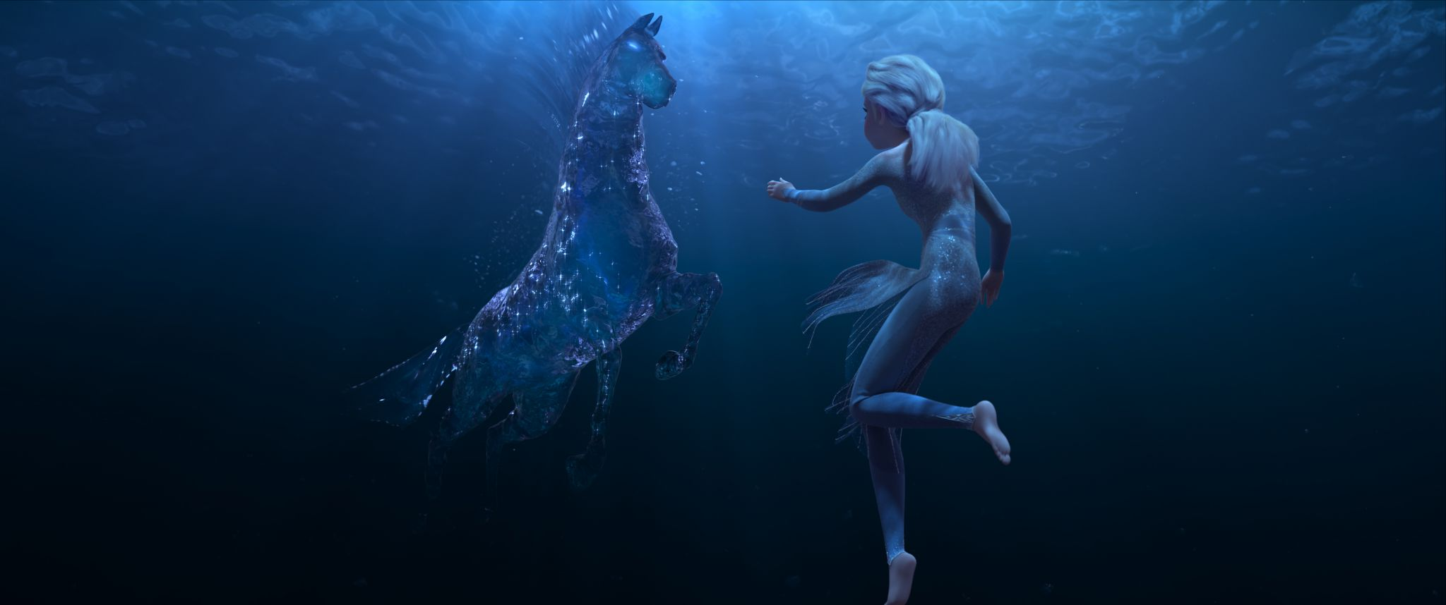 "In Walt Disney Animation Studios' ""Frozen 2, Elsa encounters a Nokk—a mythical water spirit that takes the form of a horse—who uses the power of the ocean to guard the secrets of the forest."