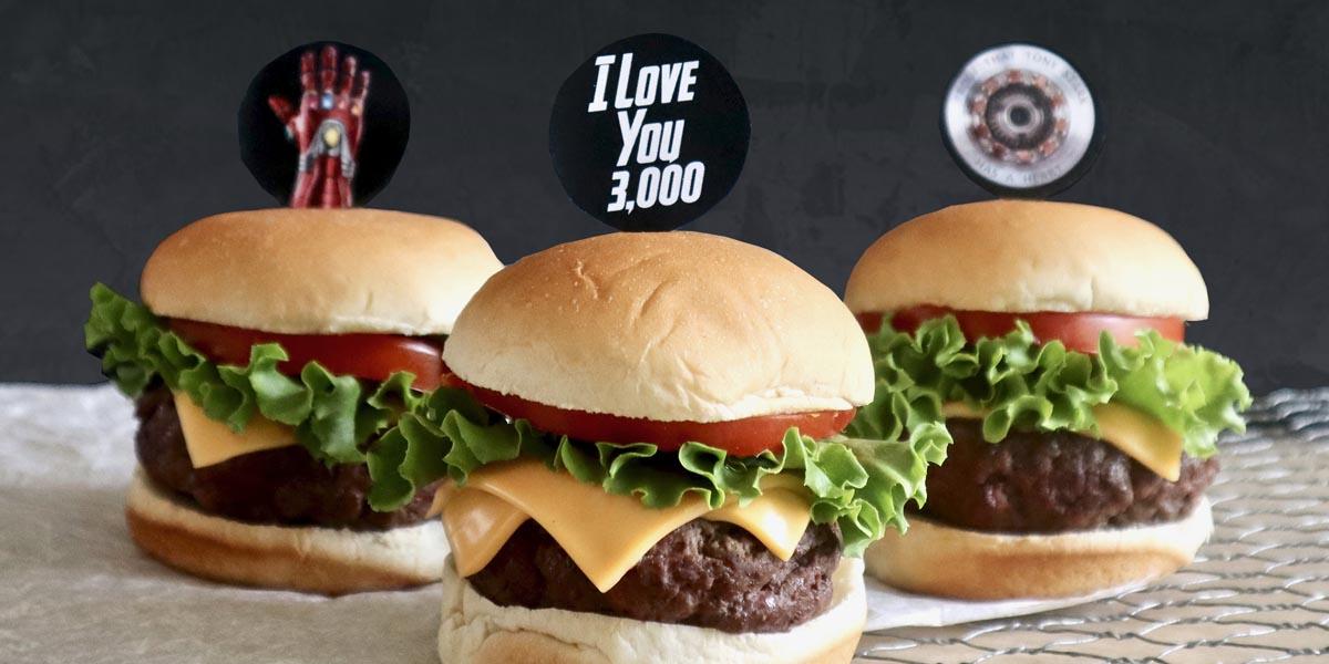"""I Love You 3,000"" Iron Man Cheeseburger Sliders"