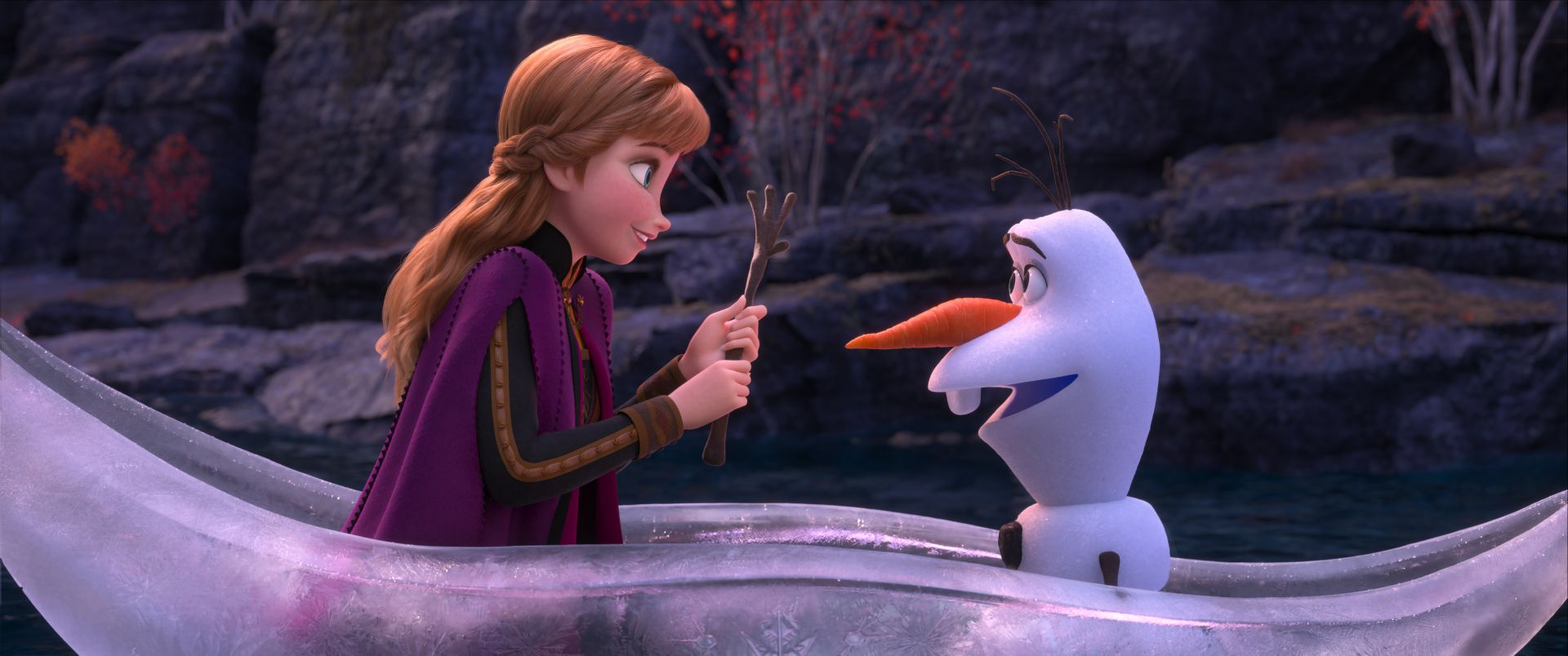 Anna and Olaf in ice boat in Frozen 2 and movie review