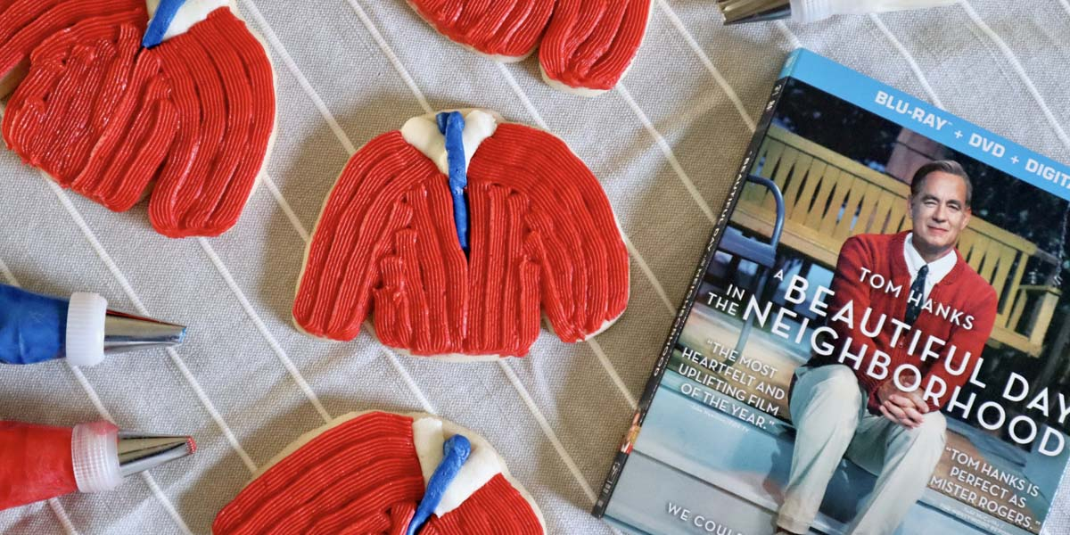 Mister Rogers' Sweater Cookies Inspired by A Beautiful Day in the Neighborhood