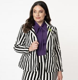 Beetlejuice Plus Size Black & White Stripe Jagger Suit Jacket