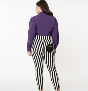 Beetlejuice Plus Size Black & White Stripe Rizzo Cigarette Pants
