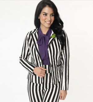 Beetlejuice Black & White Stripe Jagger Suit Jacket