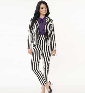 Beetlejuice Black & White Stripe Rizzo Cigarette Pants