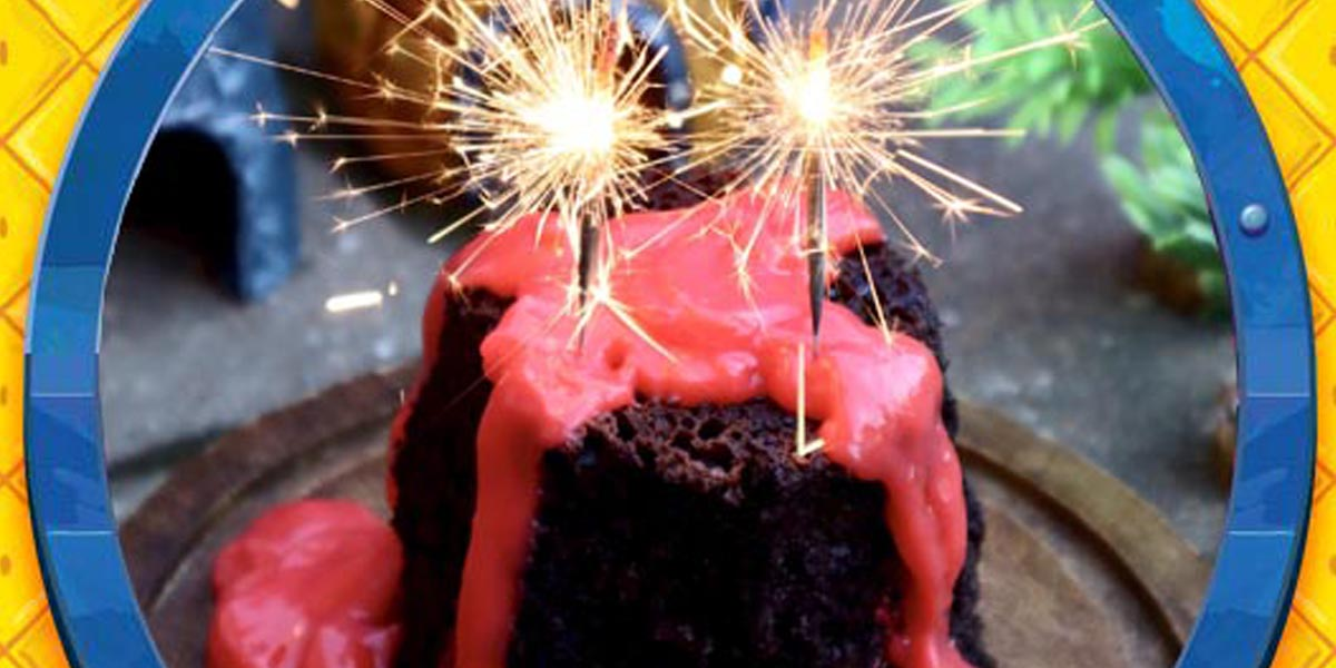 Volcano Cake with Pineapple Lava Inspired by The SpongeBob Musical: Live on Stage!