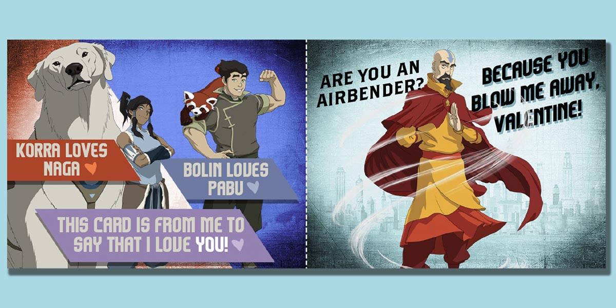 Printable Legend of Korra Valentine's Day Cards