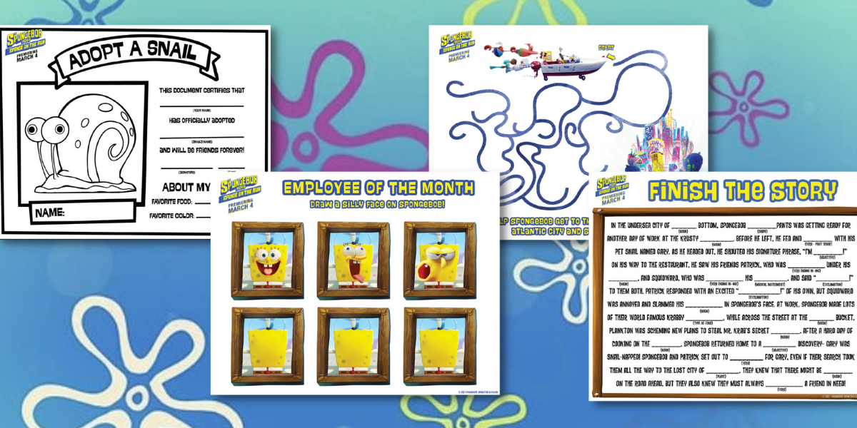 The SpongeBob Movie: Sponge on The Run Printable Activity Sheets