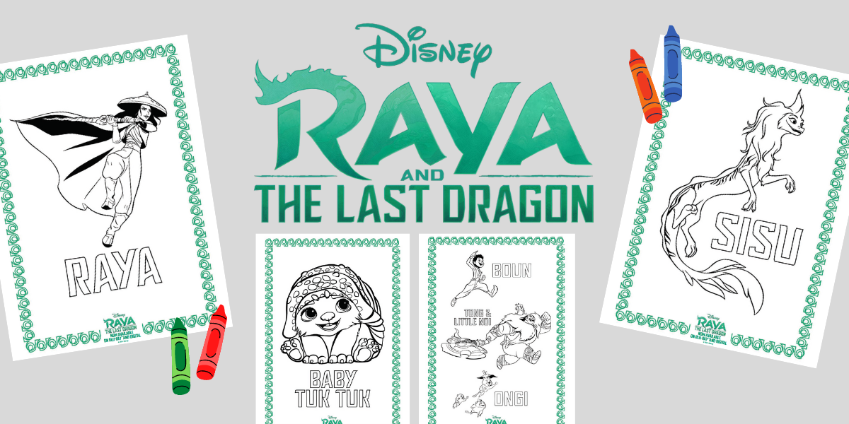 Raya and the Last Dragon Coloring Pages and Activity Sheets (Free Printables) + Giveaway