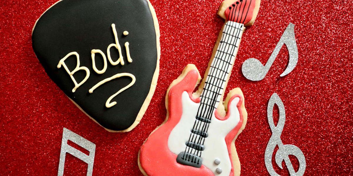 Rock Out and Decorate Rock Dog 2 Guitar and Guitar Pick Cookies